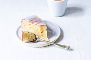 Slice of Pound Cake with White Icing