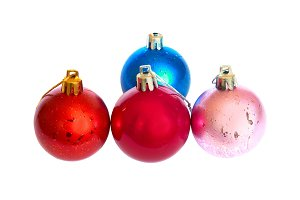 Four colored Christmas bauble