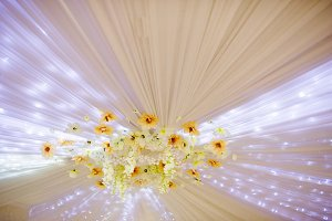 Element of wedding decor flowers and