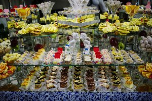 Wedding cakes and fruits with figuri