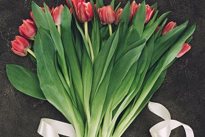 beautiful bouquet of red tulip and r