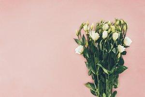bouquet of beautiful white eustoma f