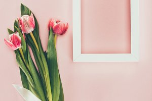 bouquet of beautiful pink tulips wit