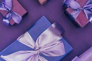 top view of decorative gift boxes wi