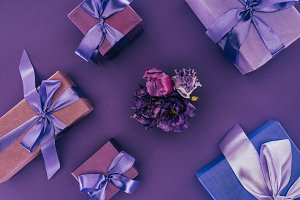 top view of gift boxes with violet r