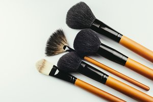 Various makeup brushes isolated over