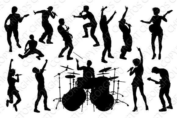 musicians rock pop band silhouettes illustrations creative market