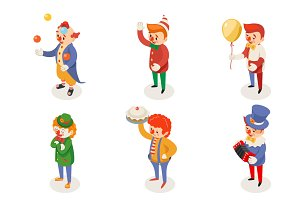 Isometric fun clowns characters