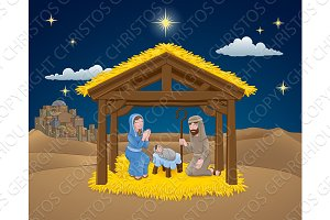 Nativity Christmas Scene Cartoon