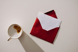 top view of red envelope with blank