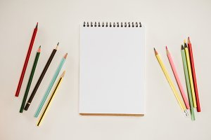 top view of blank notepad with color