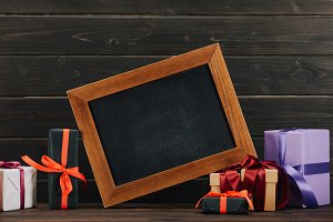 blank chalkboard in frame with vario