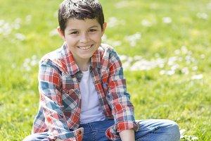 Portrait of a casual teen boy, outdo