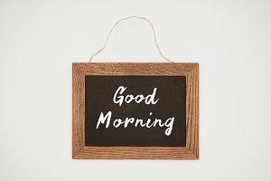 good morning lettering on chalkboard