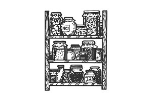 Canned food engraving vector
