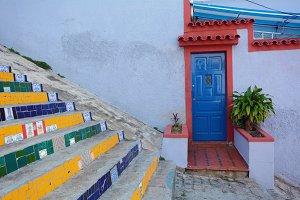 Colorful door and stair in Rio de Ja