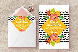 Floral Multi use Invites Templates
