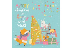 Cute Christmas greeting card with