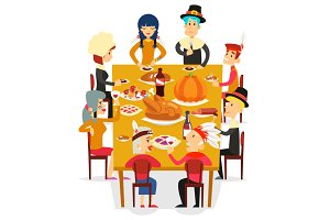 Thanksgiving family friends eat meal