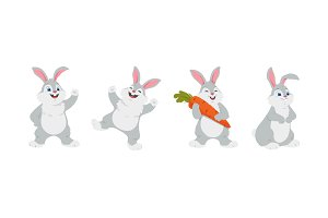 Happy rabbits - cartoon characters