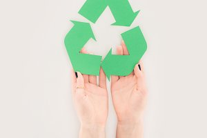 cropped shot of woman holding recycl