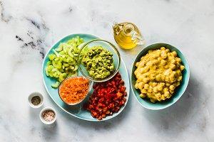 Ingredients for vegan fresh vegetabl