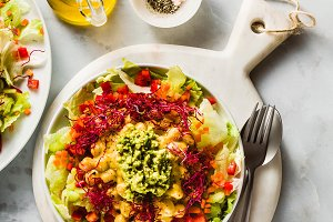 Healthy vegan salad with fresh veget
