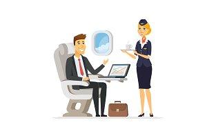 On the plane - cartoon illustration
