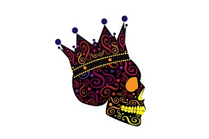 King skull icon side on, colorful
