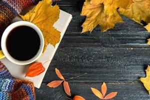 Coffee mug, book and autumn leaves o