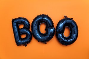 Halloween balloon word boo