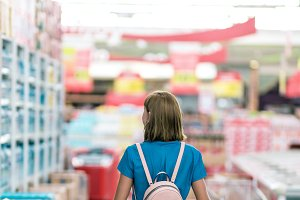 Young woman in supermarket on Bali