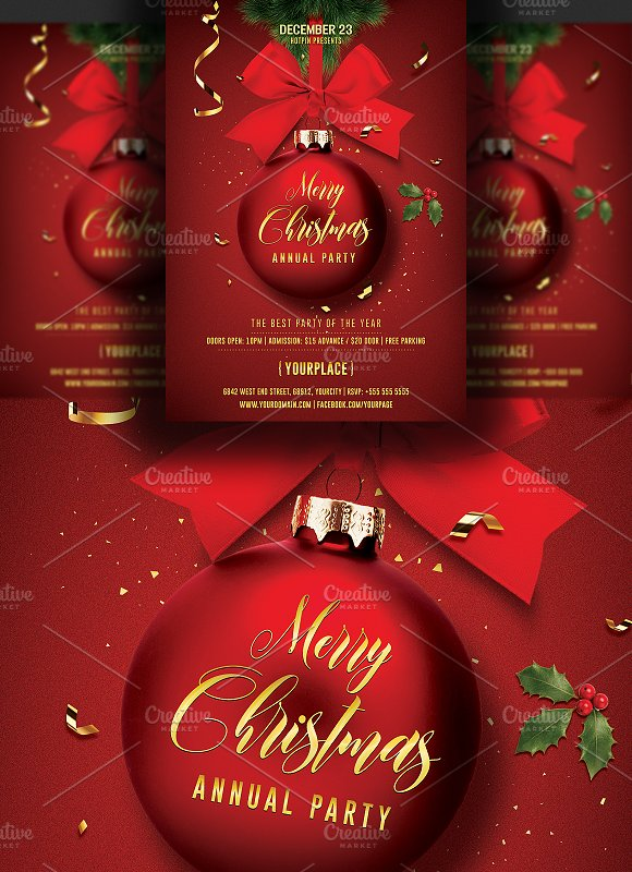 christmas invitation flyer template flyer templates creative market