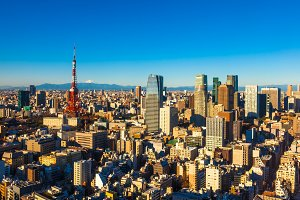 Tokyo Skyline and Mt. Fuji, Japan