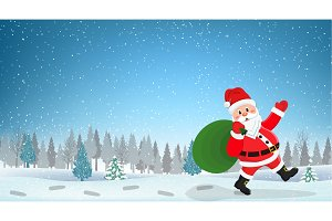 Santa Claus Walking with Bag of