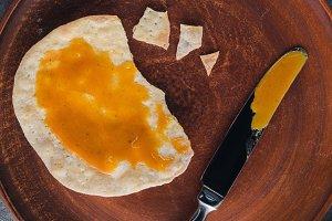 top view of matza with honey, jewish