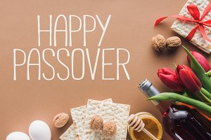 top view of happy passover greeting