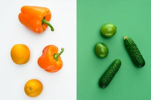 top view of orange and green fruits