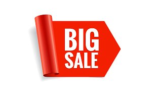 Sale banner. Realistic Red Glossy
