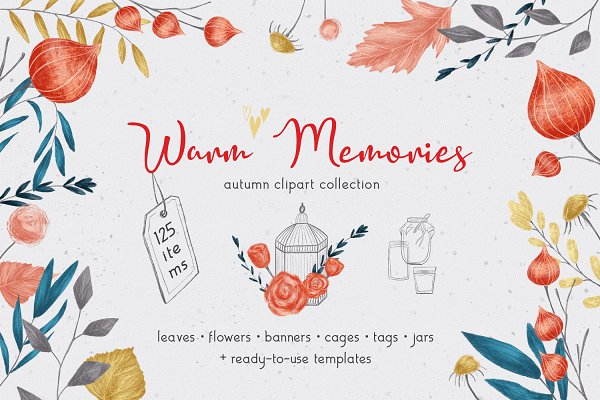 Objects: Gray Cat Graphics - Warm Memories - hand drawn set