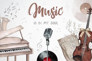 Music is in my soul - watercolor set
