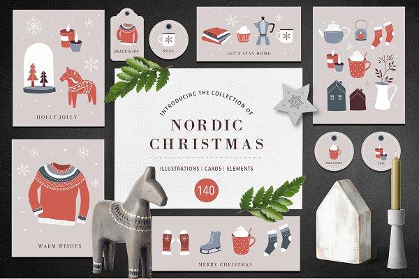 Illustrations and Illustration Products: Marish - Nordic Christmas - winter collection