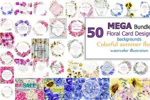 50 bundle vector floral cards design