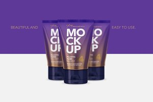 Glossy Plastic Cosmetic Tube Mockup