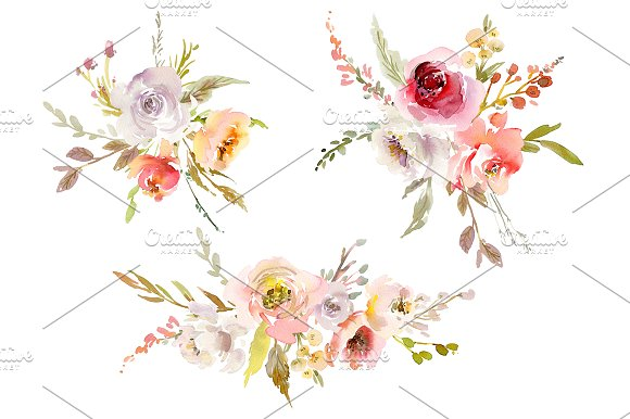 Watercolor Pink White Red Flowers in Illustrations - product preview 1