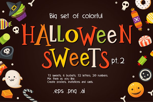 Illustrations and Illustration Products: Moonery's - Halloween sweets pt2 in vector. SALE