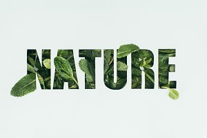 word nature made from fresh green le