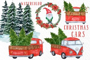 Watercolor Christmas Cars Clipart
