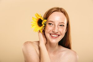 Beauty portrait of a cheerful young