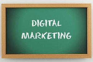 3d chalkboard with Digital marketing